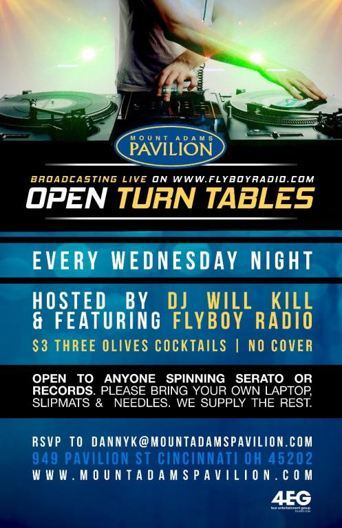 NEW Open Turn Table Wednesdays- Broadcasting Live From Mt. Adams Pavili