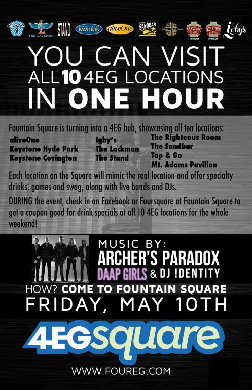 4EGsquare at Fountain Square with Archer's Paradox, DAAP Girls and DJ I